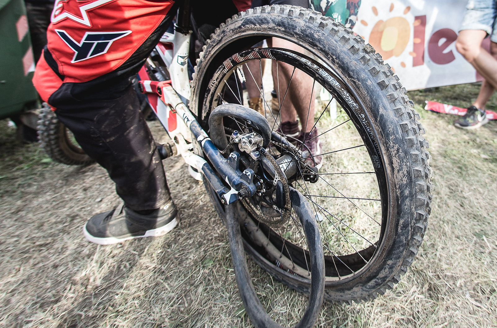 Gwin's exploded wheel from World Champs in 2016 with the Flat Tire Defender hanging out. This was in the Vital slideshow and no one commented.