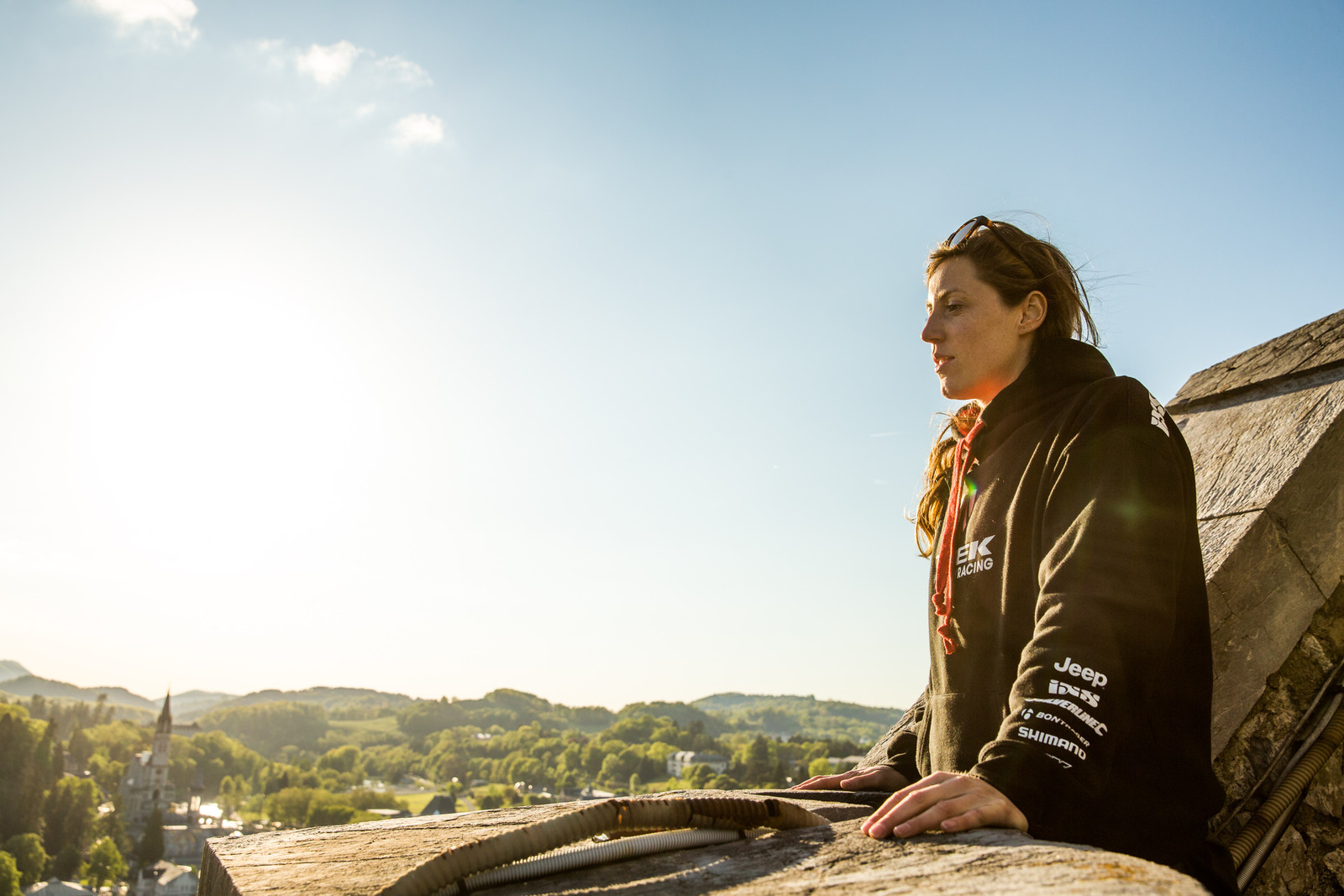 Sunny afternoon and quiet thoughts from atop a castle with Rachel Atherton.