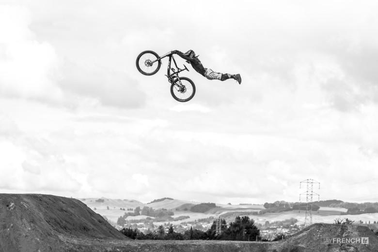 Tyler McCaul Stretching out a Superman over Rotorua.