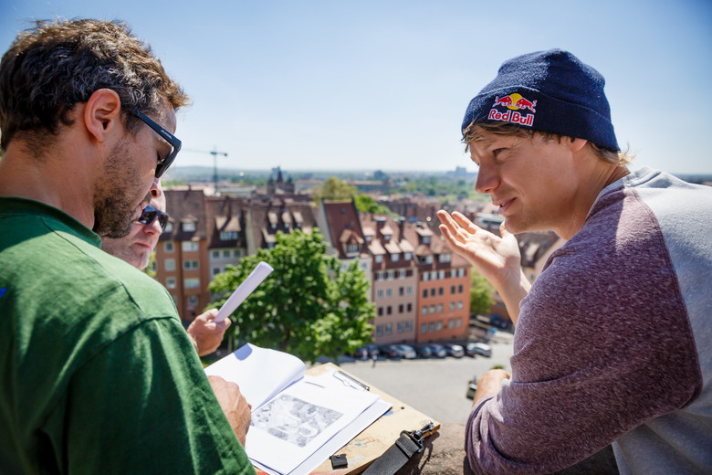 Martin Söderström during location check for Red Bull District Ride in Nuremberg.
