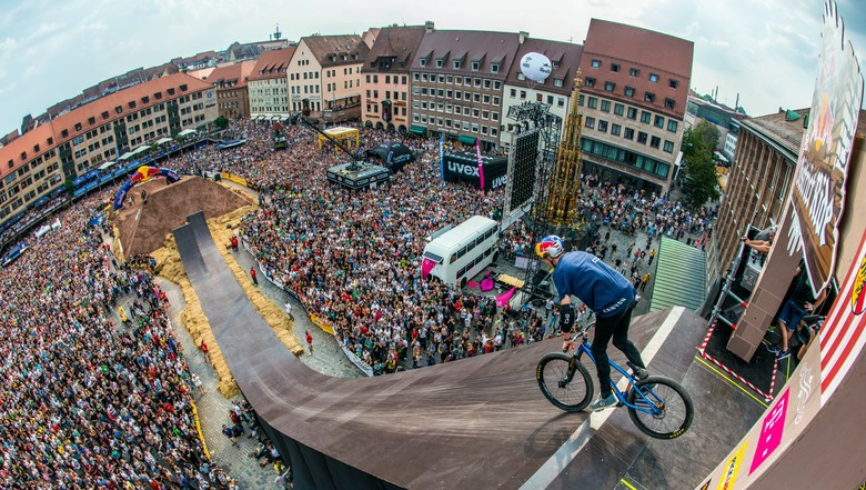Thomas Genon of Belgium performs during the Red Bull District Ride 2014 in Nuremberg.