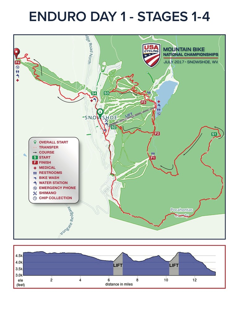 Map of National Champs Enduro Stages 1-4