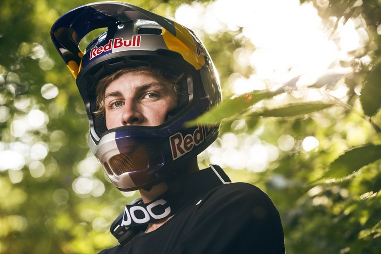 Fabio Wibmer wearing the Red Bull helmet