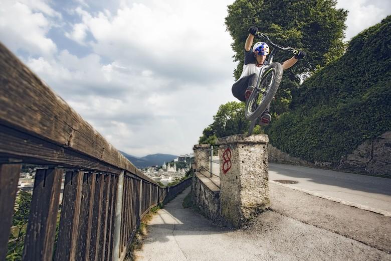 Fabio Wibmer doing what he likes best: trials