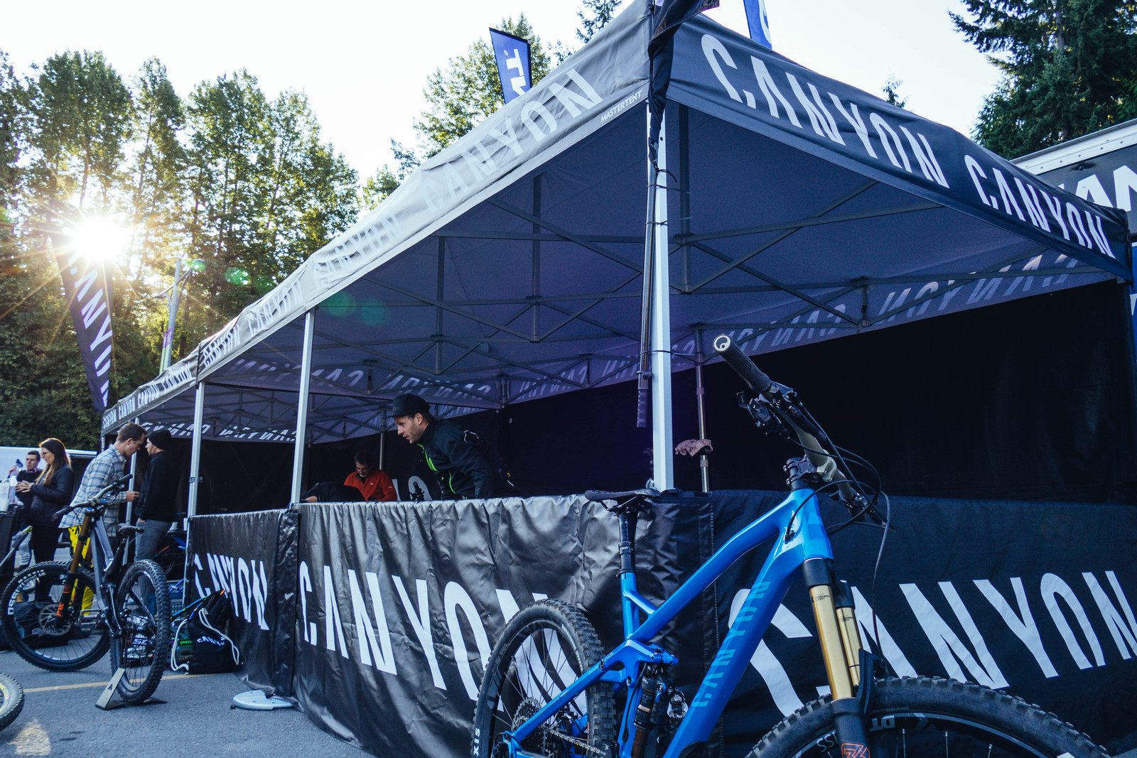 Early morning at the Canyon booth in the Crankworx Whistler expo.