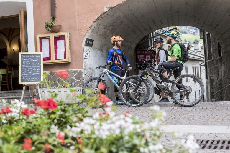Taking a break at the city center of medieval Bormio