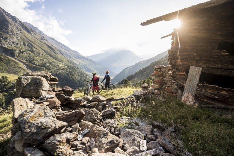 The Lupato Brothers enjoy the stunning view on the Panoramico Pizzini Trail