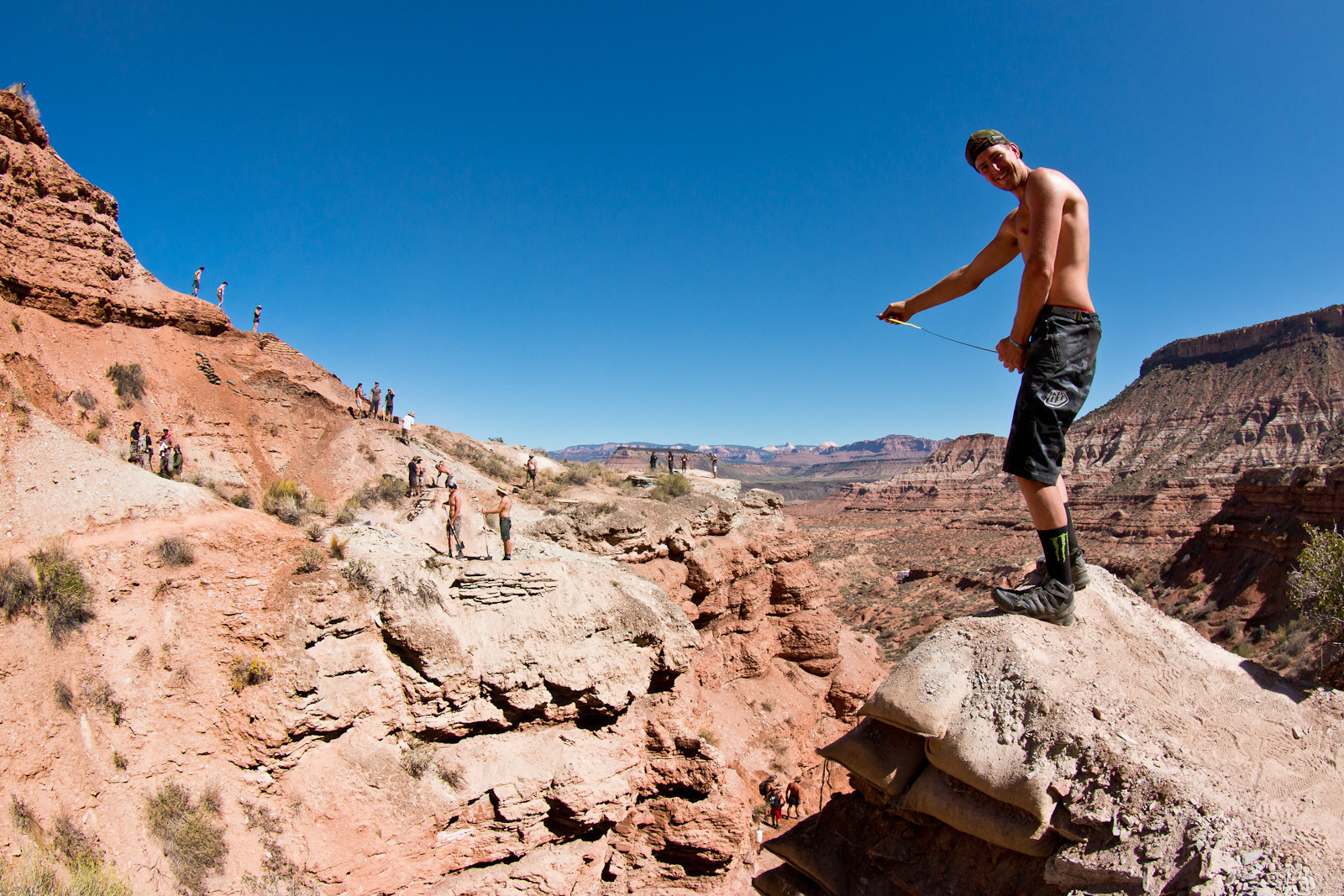 After reading Vital's How-to guide to jumping, Brendan Fairclough was this relaxed while measuring his 30 foot death canyon gap at Rampage. Remember, it's not the size of the jump, it's the style of the rider sending it.