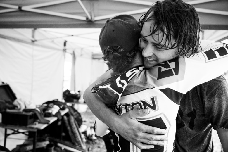 Hardline is more a race against the course than each other. Riders want to win, but it's all love once the clock stops. We wonder if Brayton went up to hug the tree he permanently scared.