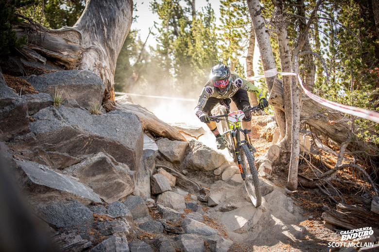 The day's Pro Men champ Marco Osborne crushing a Shock Treatment rock garden on Stage 2.