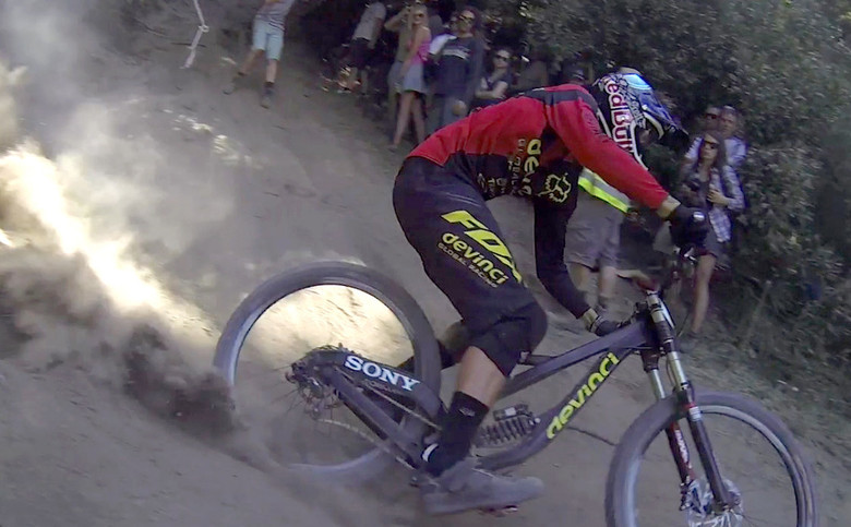Nick Beer in 2013 on a Devinci prototype pulled from a race video. Some people weren't too excited we posted this, but it was in a video on the internet, what did they expect?