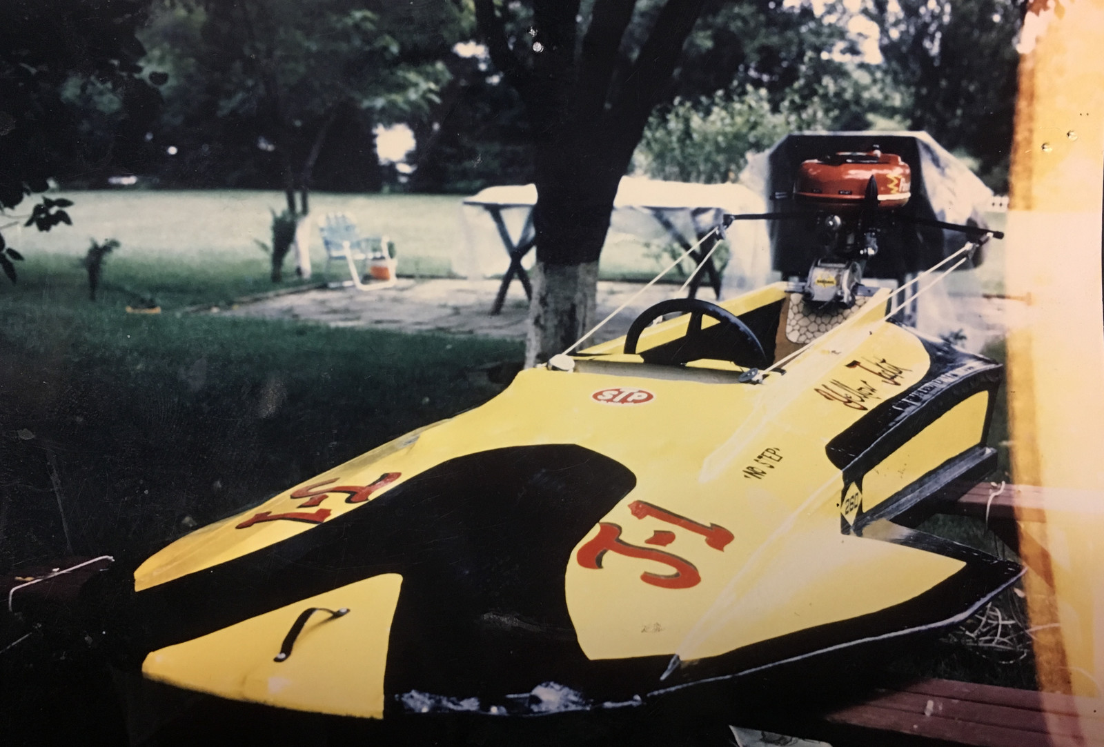 What did you make in middle school shop class? This is what Jeff Steber made; an 8-foot hydroplane out of plywood.