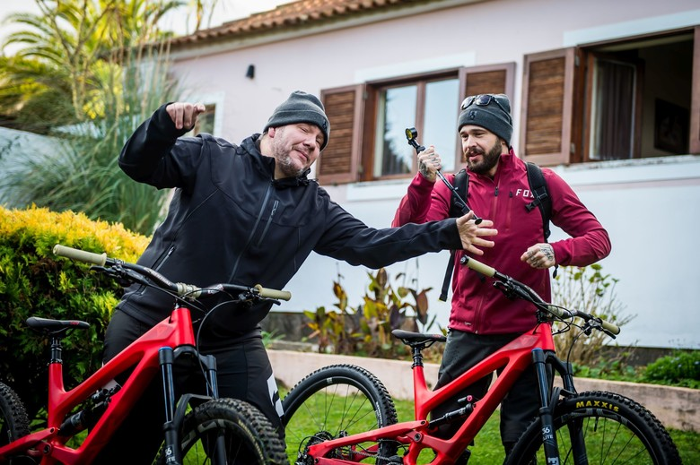 Markus Flossmann (YT's CEO, right), and Stefan Willared (CTO) getting pumped to go ride the new steeds.