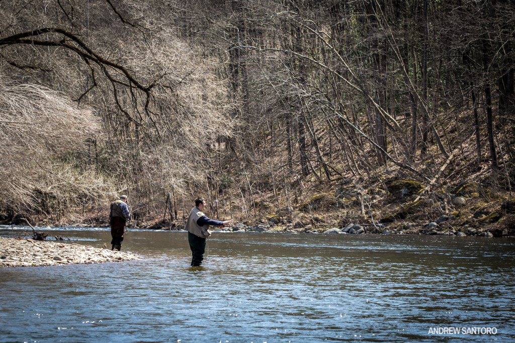 Mountain bikers aren't the only outdoor enthusiasts flocking to Stroudsburg, PA. The initial pedal transfer at Glen Park runs along Brodhead Creek, a tributary of the Delaware river which is credited as the birthplace of American fly fishing. Anglers from all over swarm this creek in the spring in hopes of hooking both stocked and wild trout.