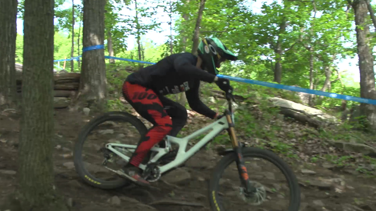 Kiran MacKinnon, 2nd place, on what is believed to be a new version of the Santa Cruz V10 29er.