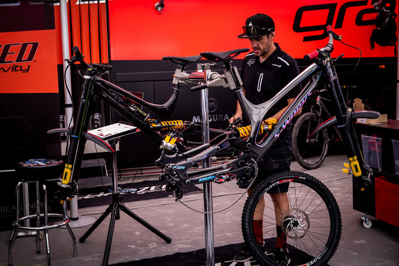 Jack prepping Loic's bike with data acquisition equipment...