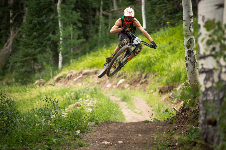 Adam Prosise races stage 1 in the Pro/Open division at Round 3 of the 2018 SCOTT Enduro Cup presented by Vittoria at Powderhorn, CO on July 28, 2018. Photographer: Sean Ryan, courtesy EnduroCupMTB