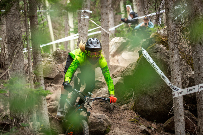 Cody Kelley races stage 3 in the Pro/Open division at Round 3 of the 2018 SCOTT Enduro Cup presented by Vittoria at Powderhorn, CO on July 28, 2018. Photographer: Sean Ryan, courtesy EnduroCupMTB