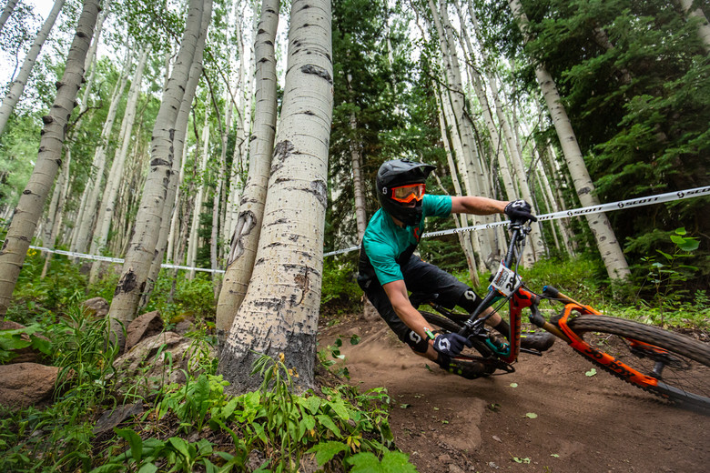 Stan Jorgensen races stage 2 in the Pro/Open Division at Round 3 of the 2018 Scott Enduro Cup presented by Vittoria at Powderhorn Resort, CO on July 28th 2018. (Photographer: Noah Wetzel, Courtesy, Enduro Cup)