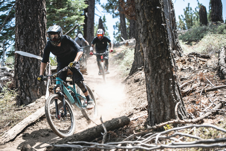 Riders get a feel for the powdery loose terrain in practice.