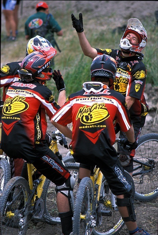 Bryn Atkinson entertaining Rennie, Sam Hill and Jared Graves at Sea Otter 2003, their debut race on the Iron Horse Madcatz team. They must be laughing about sleeping on the floor.