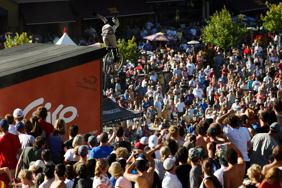 Crankworx Slopestyle circa 2005, Gully over the massive crowd. Joyride (as it's now known) has been the one Crankworx event that has paid athletes reasonably well for the risk.
