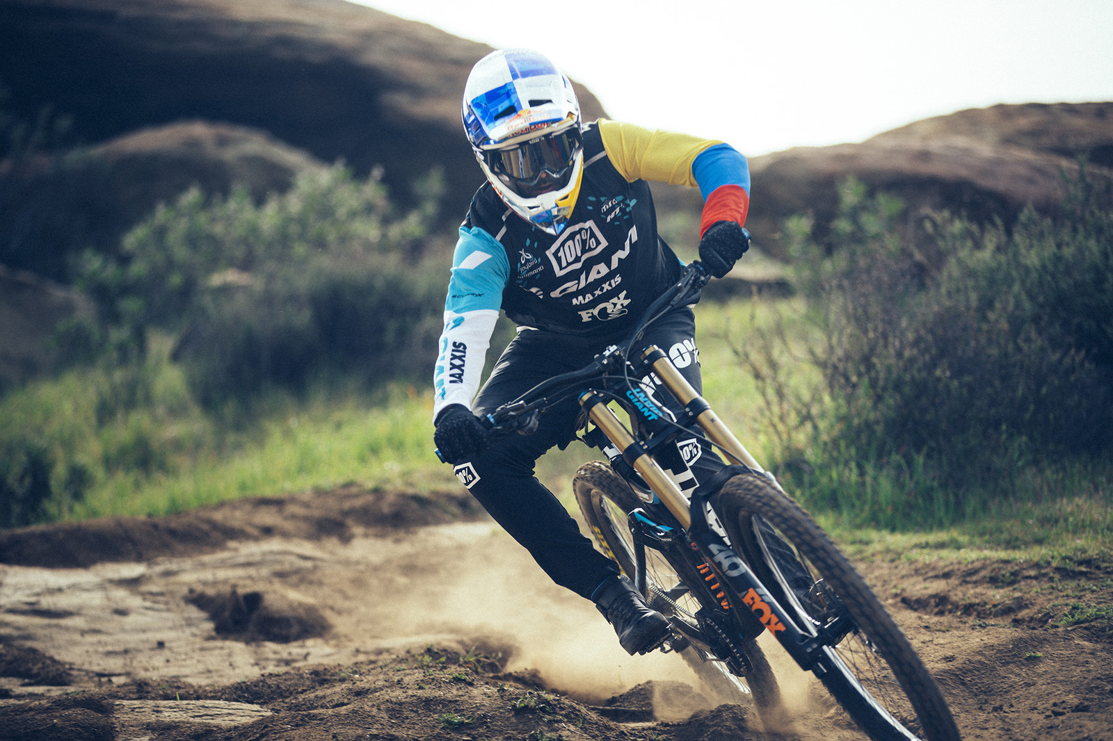 Marcelo Gutierrez, an eight-time DH national champion in his home nation of Colombia, is pictured here on his 2019 Giant Glory race bike. Gutierrez already has two race wins in 2019 and is again focused on major downhill races around the world including the UCI World Cup series.