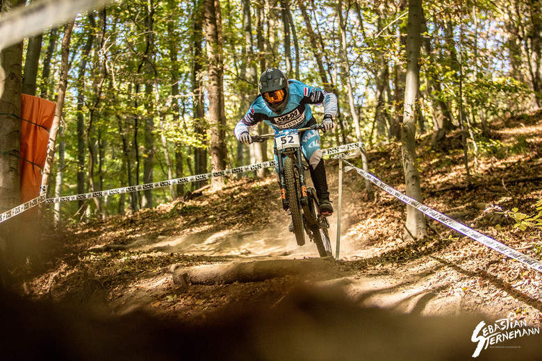 Tristan Botteram at the eighth round of the iXS Downhill Cup in Thale, Germany.