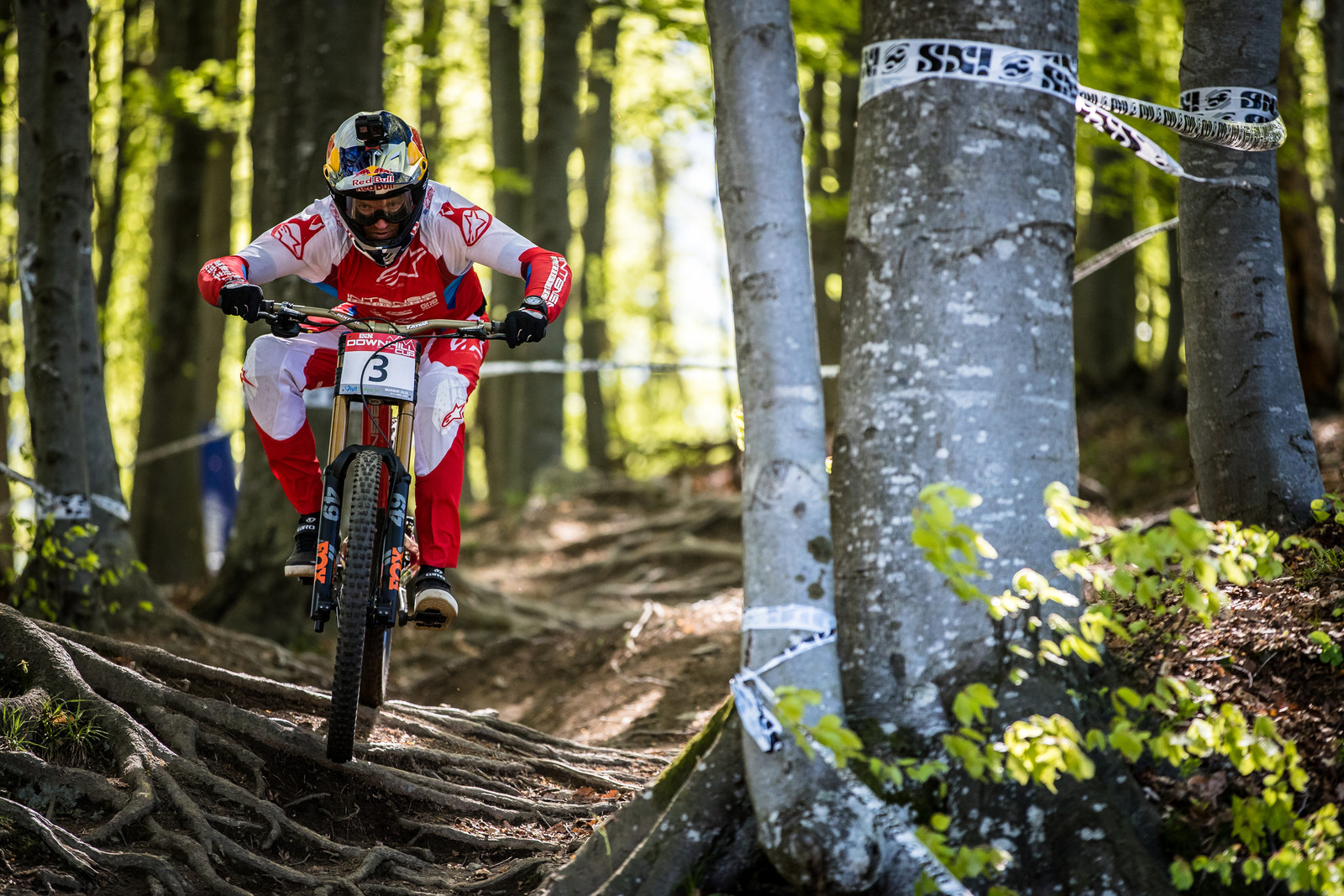 Feeling out the Maribor course during iXS practice.