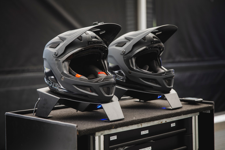 Cannondale helmet dryers, with UV lights to kill bacteria.