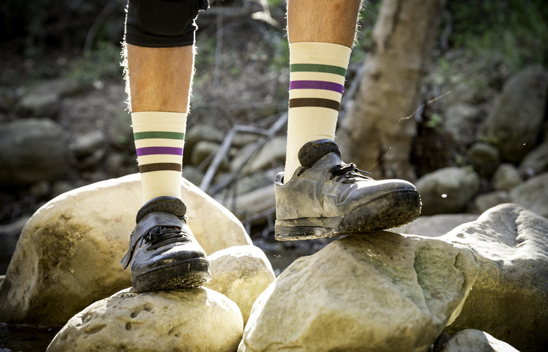 Wattstyle socks in Breggplant colorway.