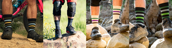 Wattstyle socks are available in 4 colorways. (L to R) Socal, Trips Black, Breggplant, and Succulence.