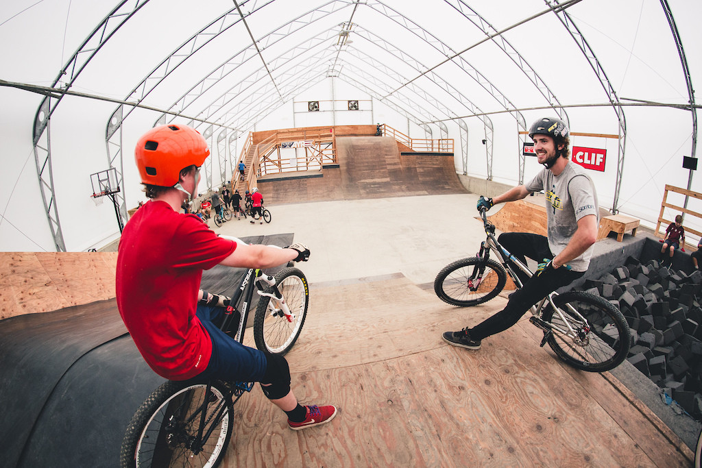 David Lieb chatting with an Ayr Academy camper in the HTC at Highland Bike Park.