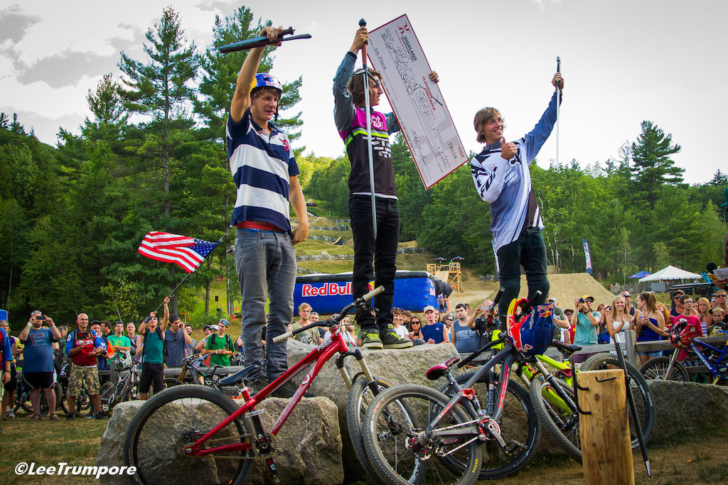 Stacked podium with Martin Soderstrom, Brandon Semenuk and Brett Rheeder at the Claymore Challenge in 2012.