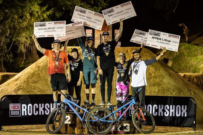 RockShox Rotorua Pump Track podium, featuring Hines, Lemoine and Wright.