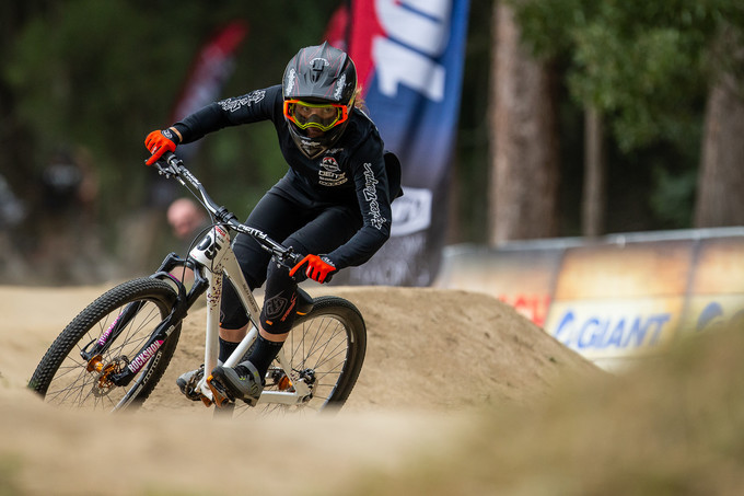 Vaea Verbeeck, eyes on the prize on the Dual Slalom track in Rotorua.