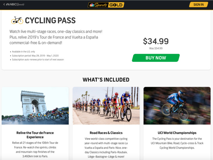 A price drop after World Champs for the NBC Sports Gold Cycling Pass.