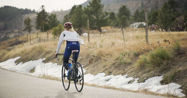 The road is part of Erin's winter training program in Colorado.