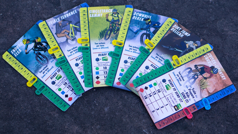 Rider Cards keep track of your skills throughout the game