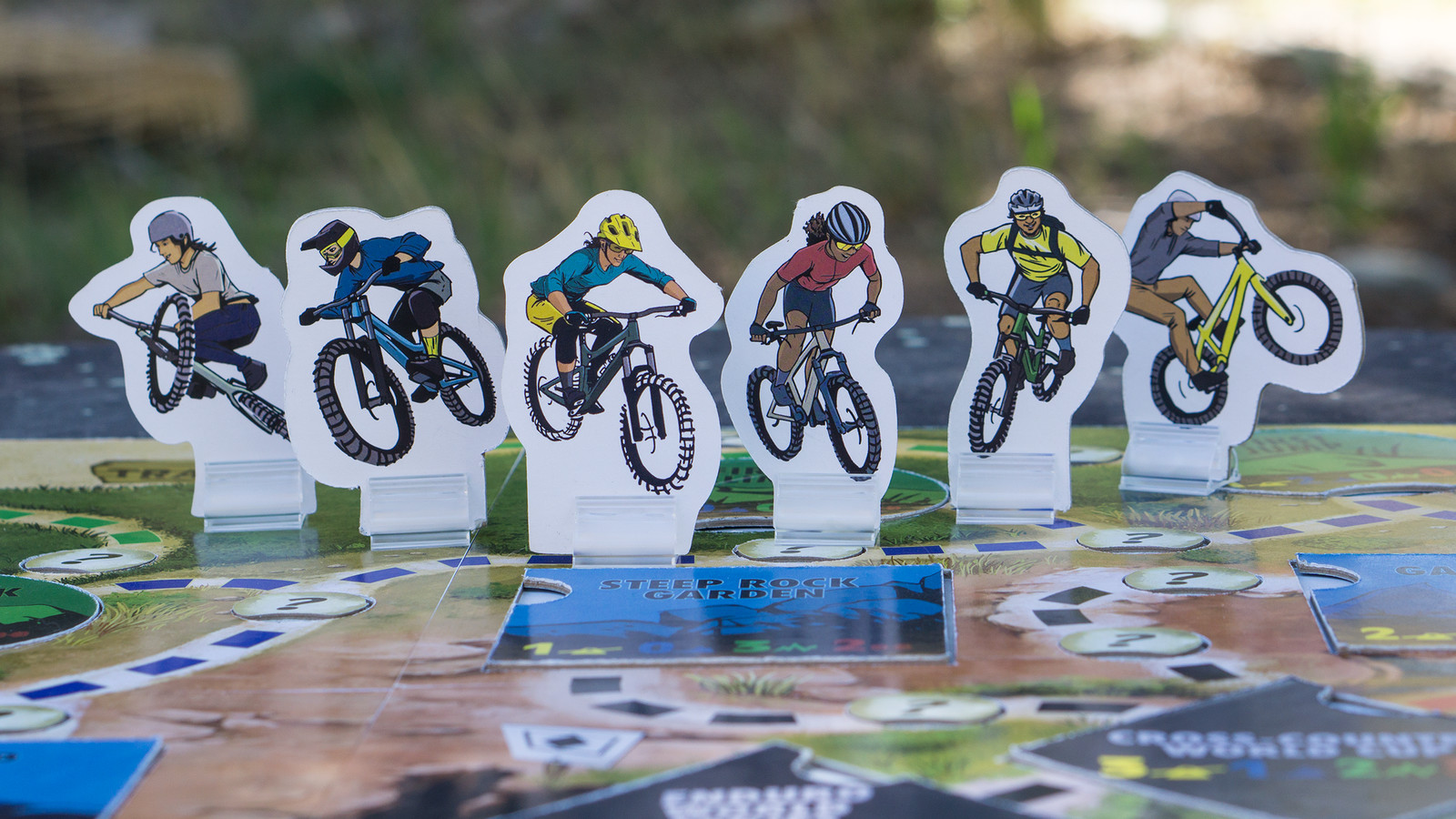 The riders (L to R): Dirt Jump Delilah, Downhill Derek, Enduro Elsa, Cross-Country Carrie, Singletrack Sammy, Trials Terrance