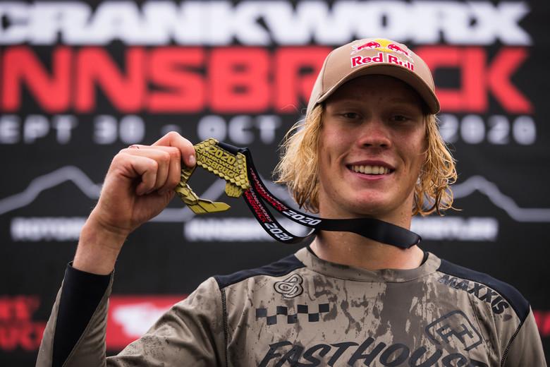 Emil Johansson performing in his Slopestyle victory run at 2020 Crankworx Innsbruck