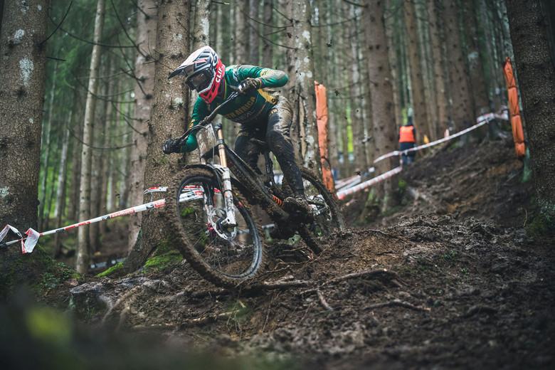 Greg Minnaar (RZA) through the woods on the Speedster