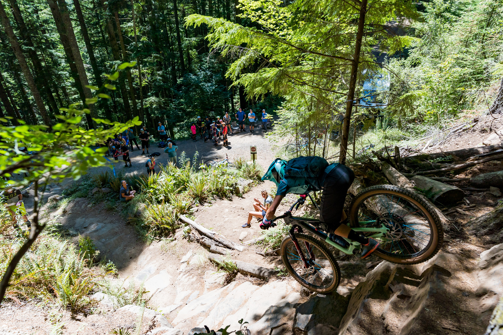Andi Zolton charging the steep rock roll of Predator to 3rd in Pro Women