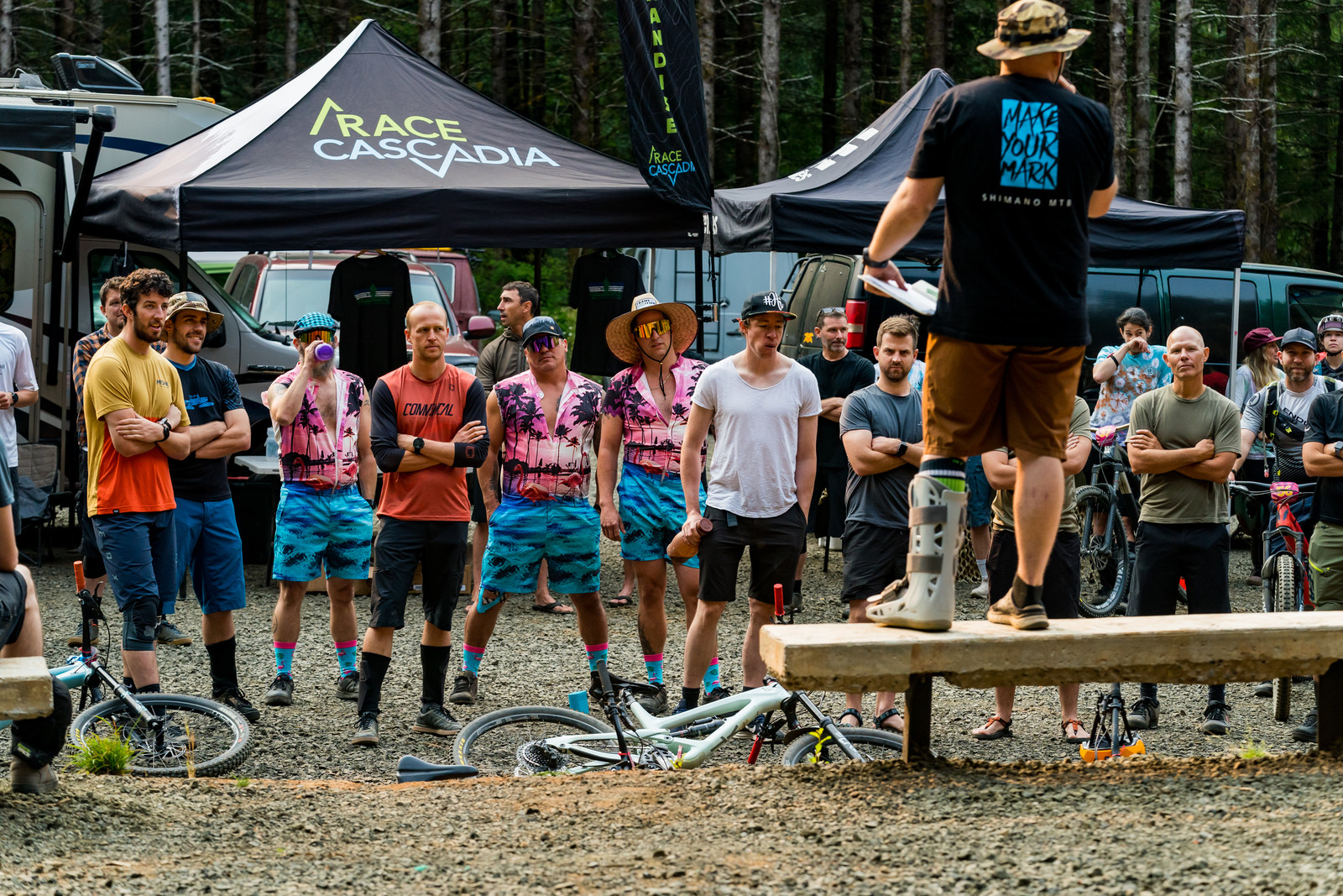 Race Director Trey Wilson giving last minute directions on the format and course of the Team Enduro