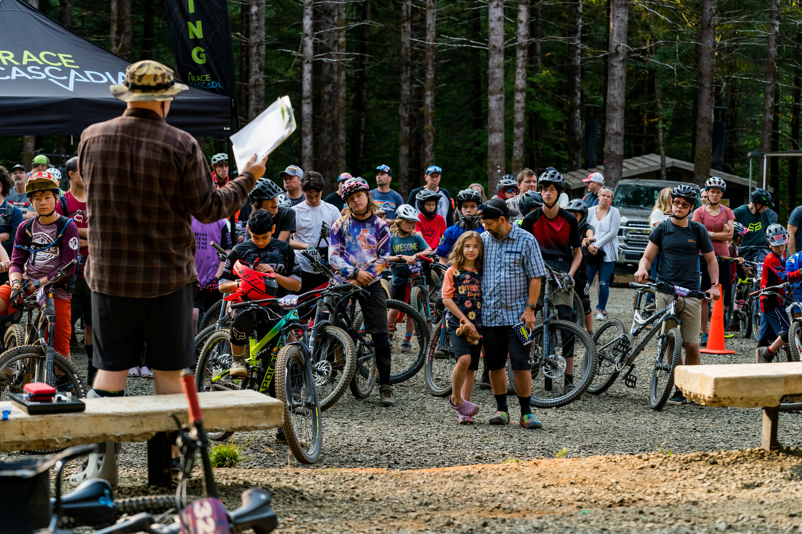 Race Director Trey Wilson imparting his knowledge on everyonde during the rider's meeting.