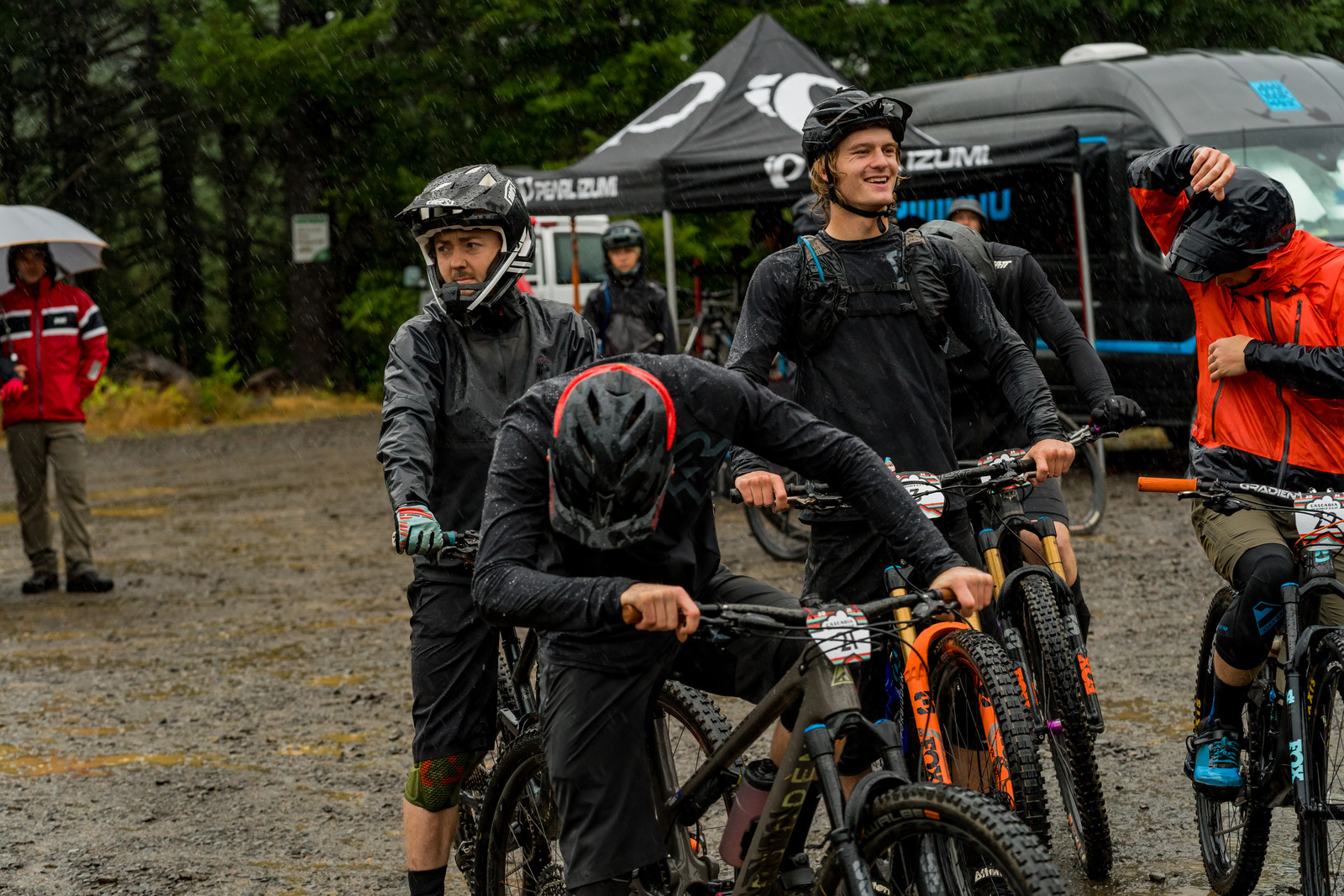 Some riders are little more excited about rolling out in the rain than the others.