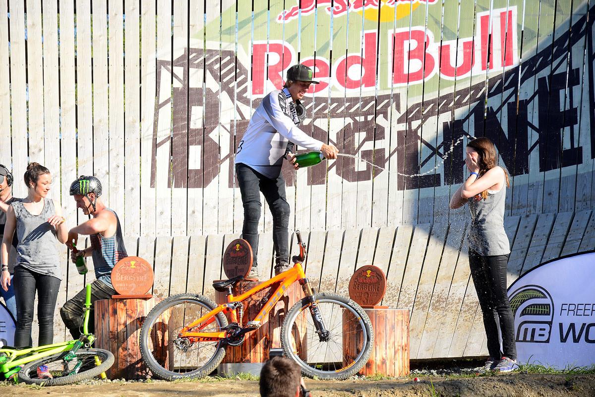 RedBull girls getting a champagne shower from Rheeder - NorbertSzasz - Mountain Biking Pictures - Vital MTB