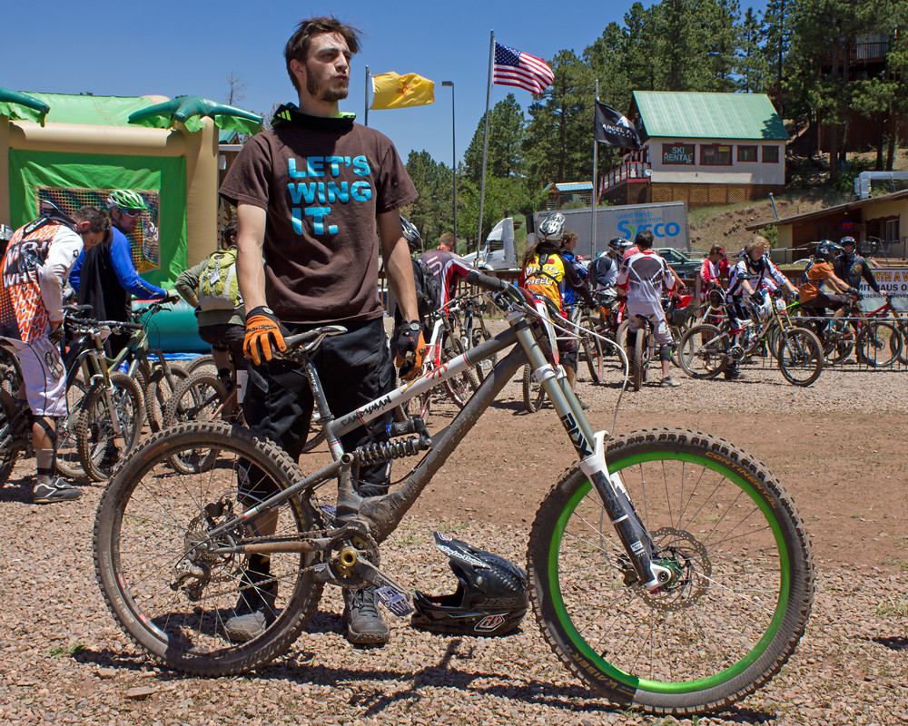 Hank Matheson with his Handmade DH Bike at Angel Fire ProGRT - NoahColorado - Mountain Biking Pictures - Vital MTB