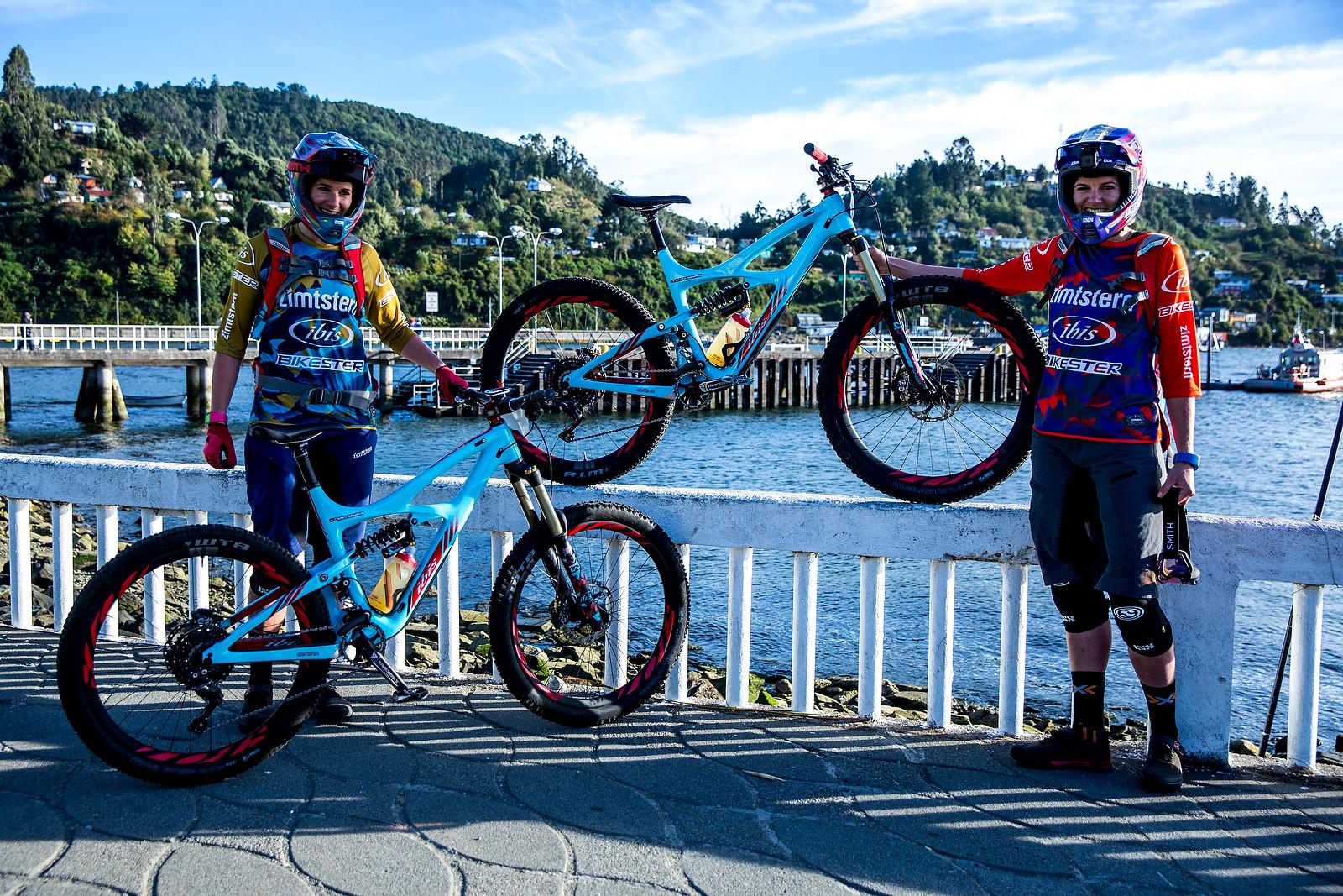 Anita and Carolin Gehrig with their Ibis' - PIT BITS - Enduro World Series, Corral, Chile - Mountain Biking Pictures - Vital MTB