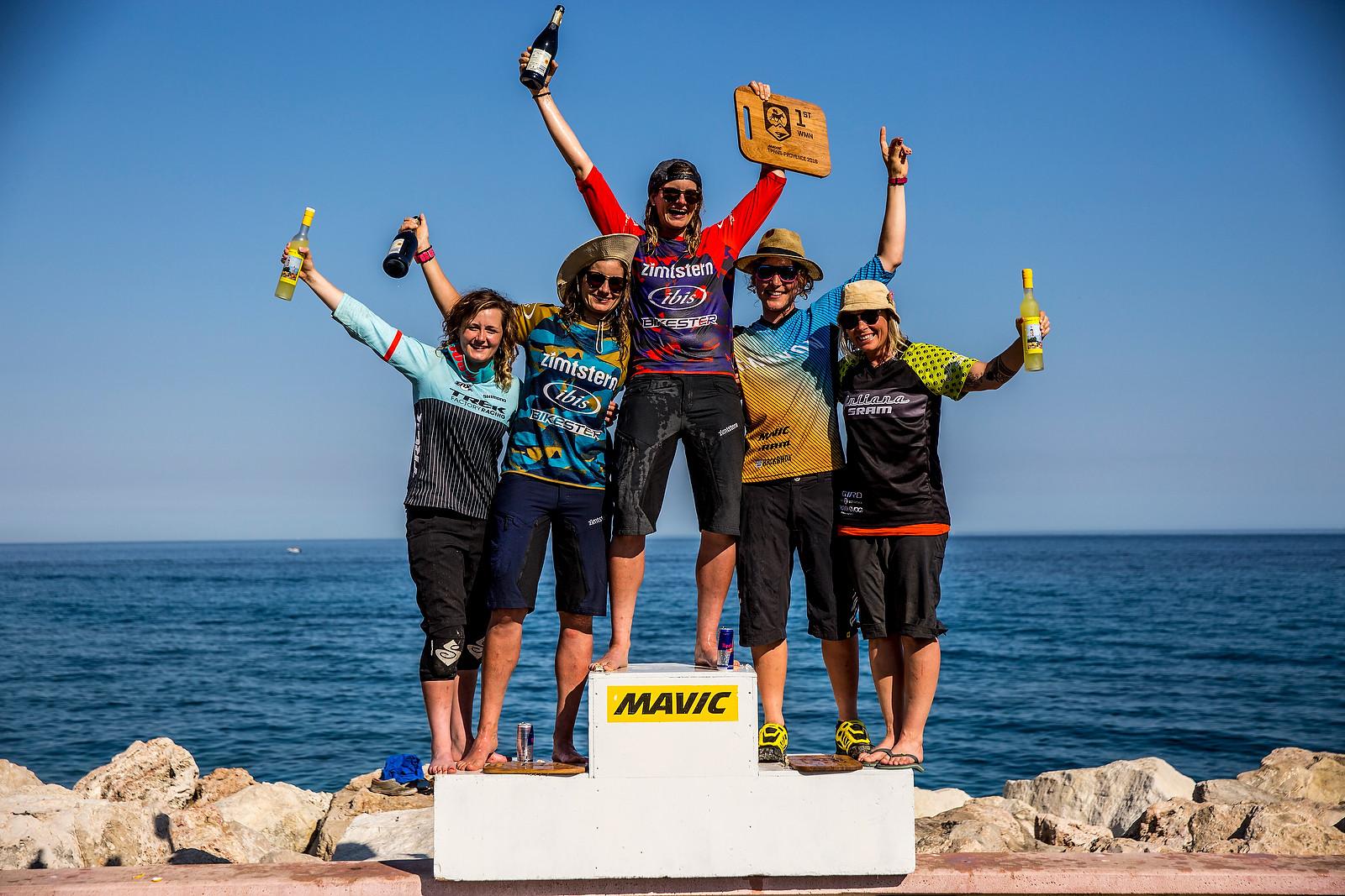 Anita On Top of the 2016 Trans-Provence Podium - WINNING BIKE: Anita Gehrig's Ibis Mojo HD3 - Mountain Biking Pictures - Vital MTB